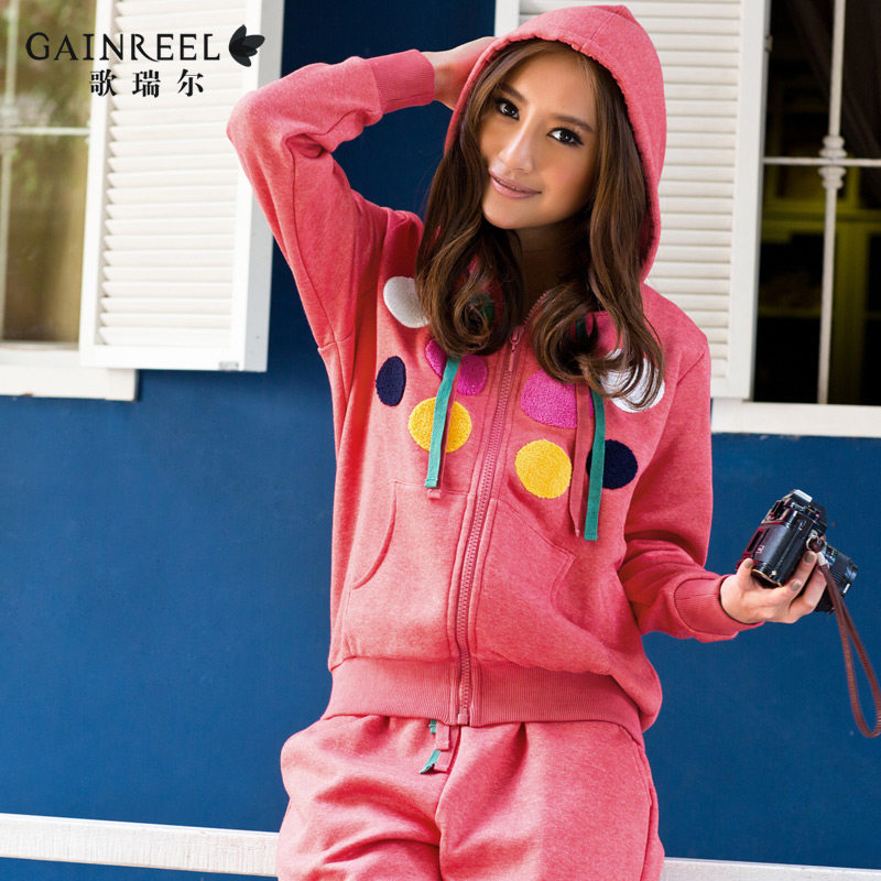 Song Riel Ms pajamas cute dot loose comfortable casual sports hooded tracksuit suits Man Ayaka