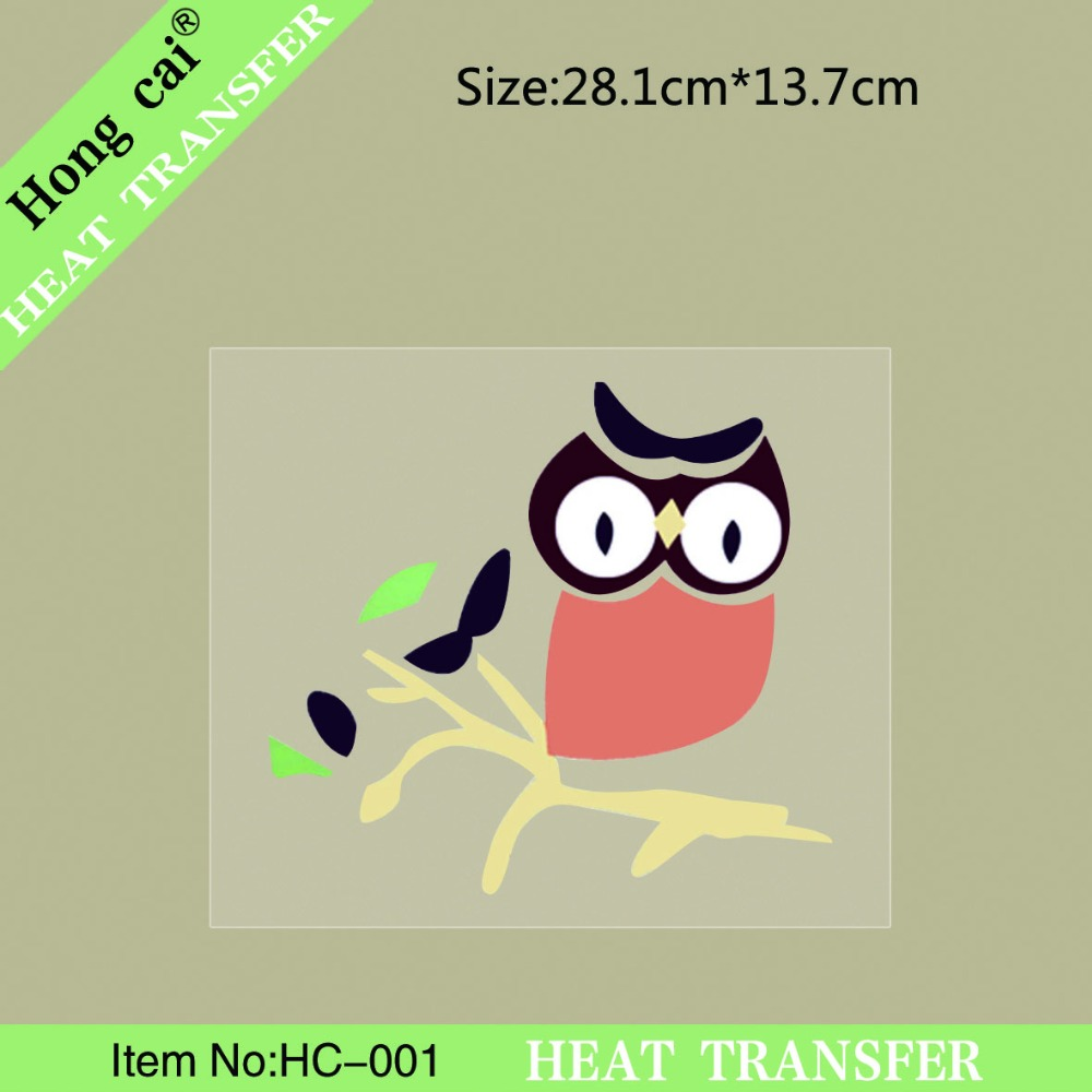 HongCai Heat transfer:28.1cm*13.7cm animal series owl patch stickers heat transfer printing pattern of DIY clothing(China (Mainland))