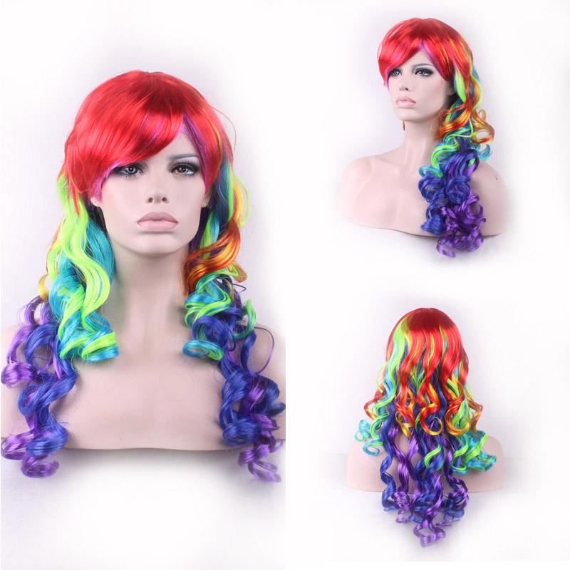 Limit discounts cheap wigs synthetic ombre wigs Lolita Pastel Rainbow Wig curly Anime cosplay Wig 65 cm Multi-Color Beautiful(China (Mainland))