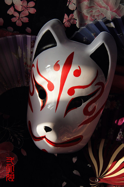 Hand-Painted Full Face Japanese Fox Mask Demon Kitsune Cosplay Masquerade Collection Japanese Party Carnival Halloween