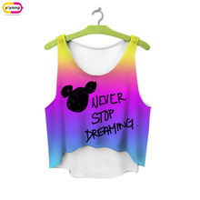multicolor T-Shirts 3D Print women tank tops & camis printed sleeveless vest girls summer short crop tops irregular(China (Mainland))