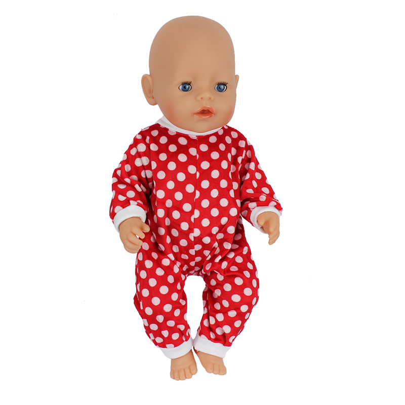 Red and white spot jumpsuits clothes Wear fit 43cm Baby