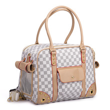 Classics plaid Pet cat small dog Travel luxury pu leather Carrier bag outdoor foldable portable dog Chihuahua carrying tote bag