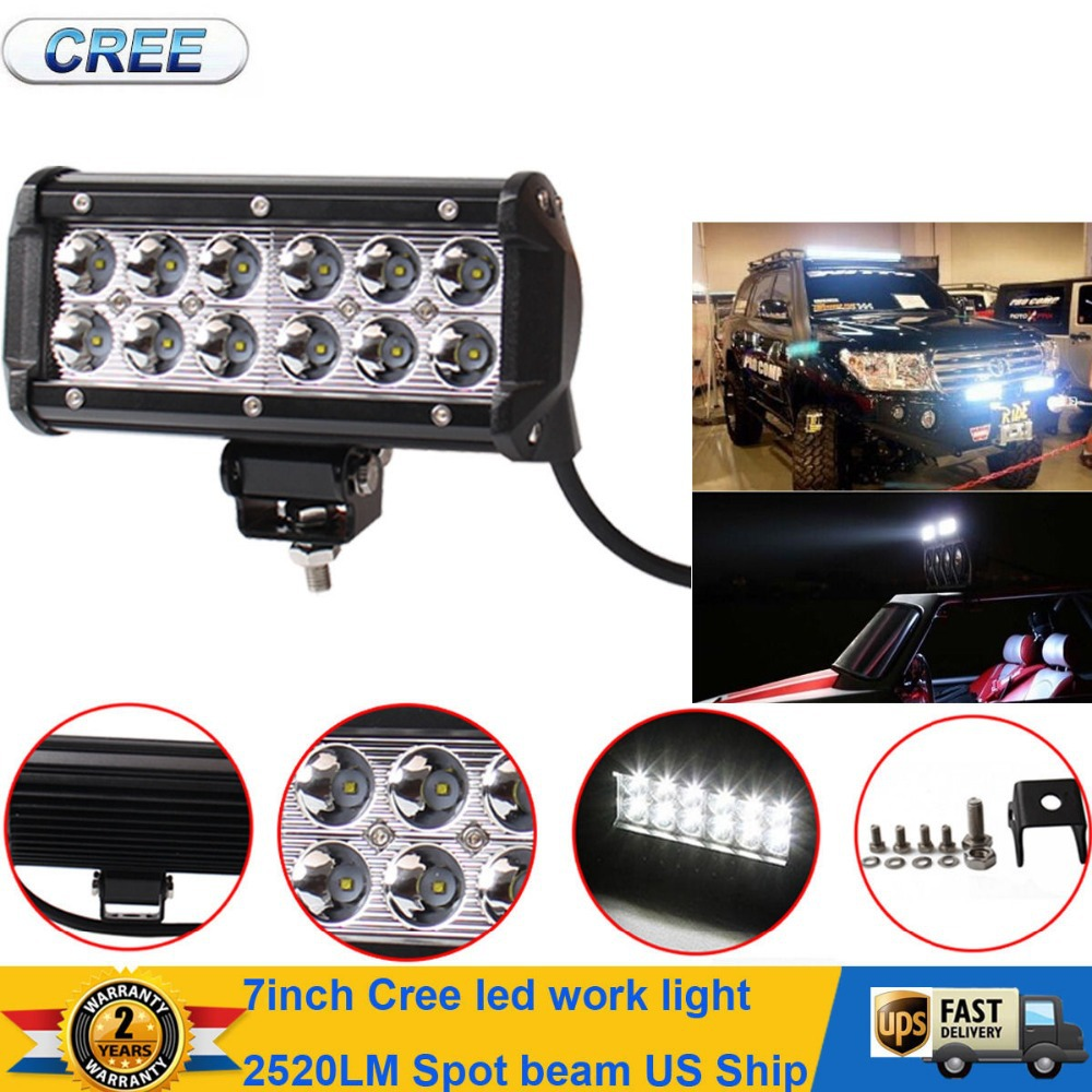 Hot sales 2015 New 7inch 36W Cree LED Work Light BAR 2520LM Flood Beam 4x4 Offroad Lamp(China (Mainland))