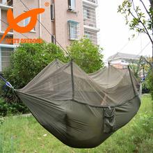 Envío gratis rápida 240 x 140 cm portátil ejército verde alta resistencia paracaídas que acampa de Nylon hamaca con mosquiteros(China (Mainland))