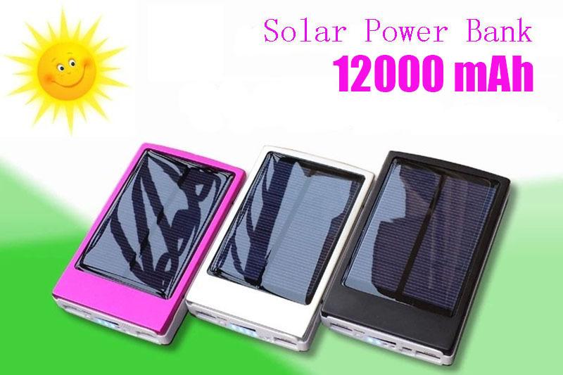 2015 new Solar Power Bank External Battery mah 12000 Solar powerbank external battery charger for iPhone for HTC ...(China (Mainland))