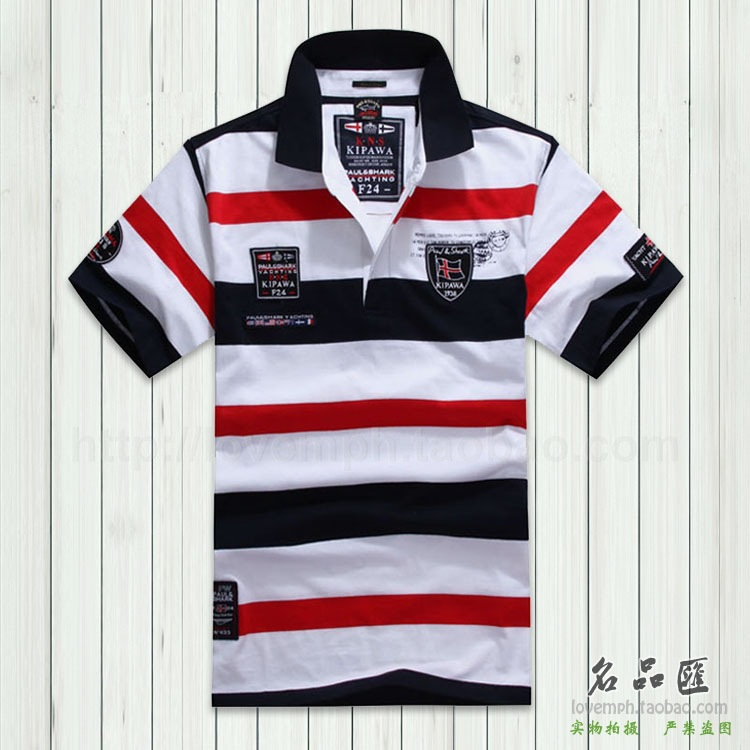 Official website of the new bold stripe xia men's cotton comfortable leisure short sleeve T-shirt(China (Mainland))