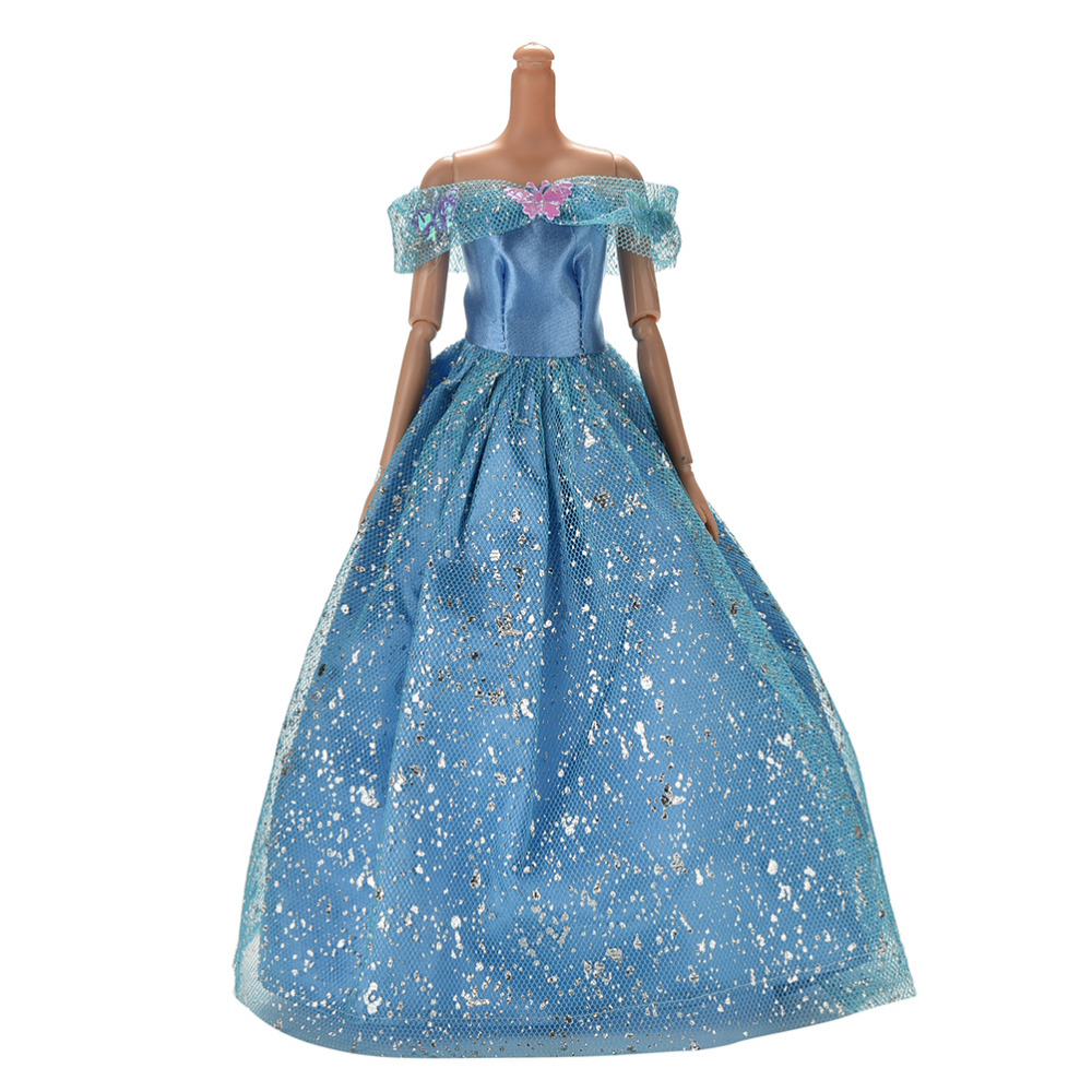 2016 new blue color dolls accessories handmake wedding dress for doll