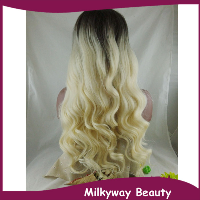 Free Shipping new heat resistant fiber black to milky blond two tone ombre wavy synthetic lace front wig<br><br>Aliexpress