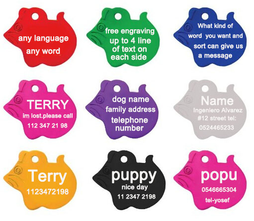 2pcs/lot Free Personalized engraving text on pet id tags pendent dog id Mouse styles 8 colors customized name address telephone(China (Mainland))