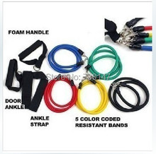50pcs/LOT 11pcs in 1set , Latex Resistance Bands Fitness Exercise Tube Rope Set Yoga ABS Workout Fitness  Dropshipping