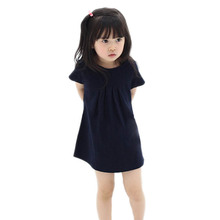 Children Kids Girls Short Sleeve One Piece Dress Casual Solid Color Dress 2-7Y