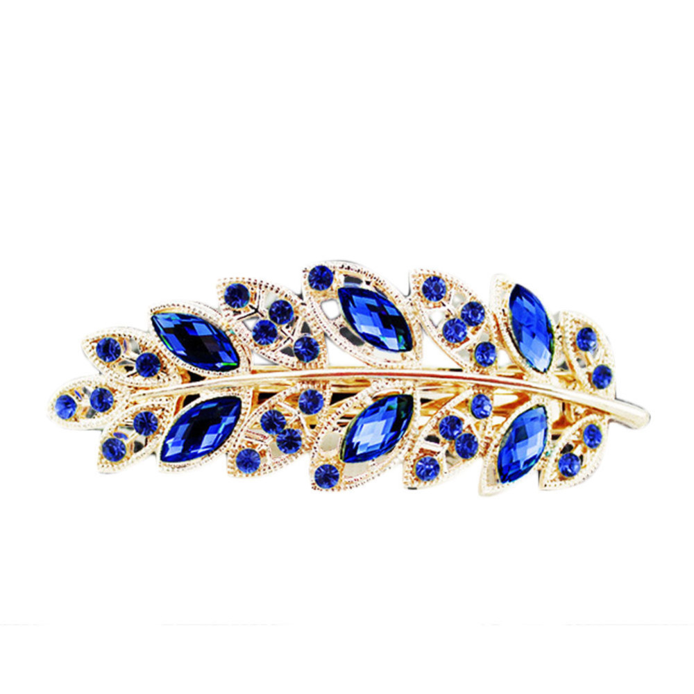Charming Hair Accessories 1 Piece Women Classical Hair Clip Leaf Crystal Rhinestone Barrette Hairpin(China (Mainland))