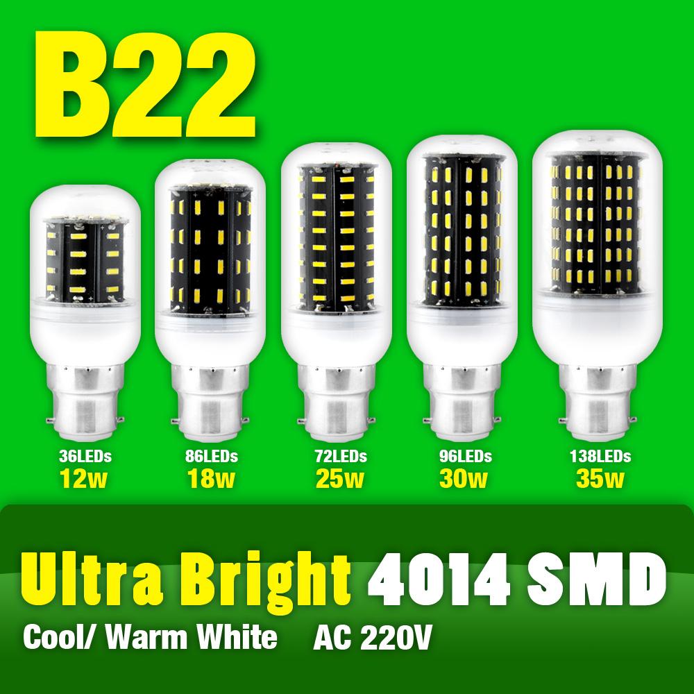 Top Quality B22 AC220V 12/18/25/30/35W 36/56/72/96/138 Leds High Luminons 4014SMD LED Lamp Corn Bulb Cool Warm White Light(China (Mainland))