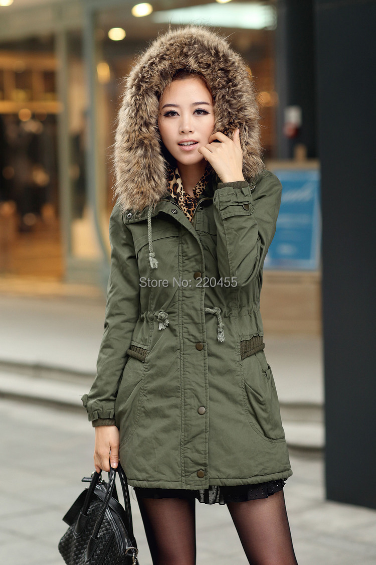 Women Winter Parkas Thickening Coat Faux Fur Collar Hooded Long Jackets Cotton padded Outwear Slim Size M-3XL - iLoveSIA store