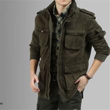 Big Size M-5XL 2015 Winter Denim Jacket Men Outdoors Casual  100% Cotton Parka Military Coat Army Green Khaki Black Coat 027(China (Mainland))