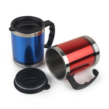 office mug gong cup stainless steel with lid,print advertising car cup auto mug,wholesale water tumbler customized logo(China (Mainland))