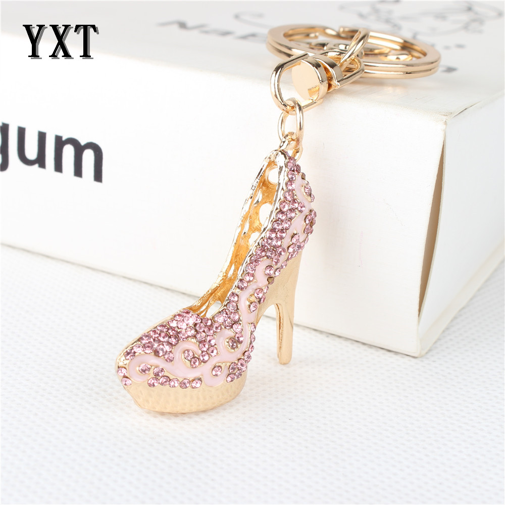 Lovely High-heeled Pink Shoe Car Keyring Crystal Rhinestone Charm Pendant Purse Bag Key Chain Wedding Party Good Gift 156(China (Mainland))