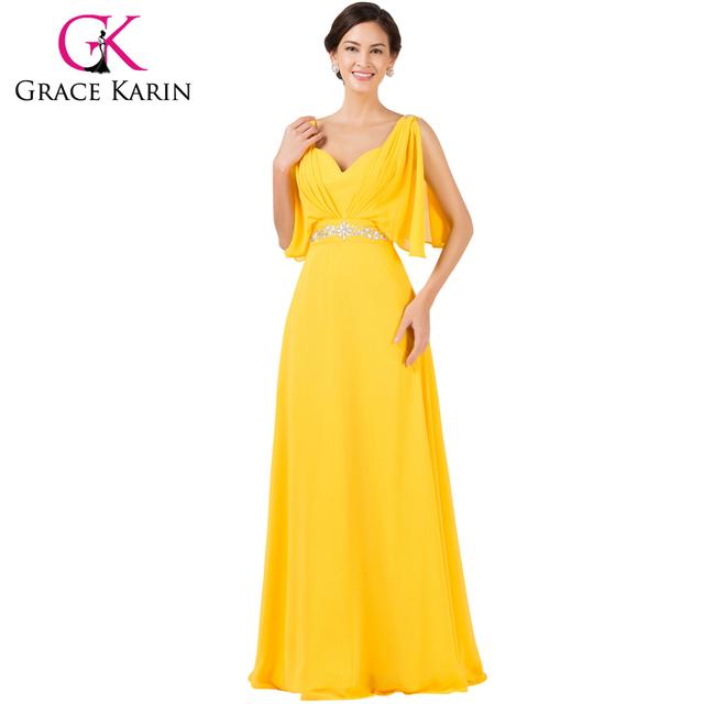 Грейс карин шифон элегантный длинное вечернее платье желтого дубль шеи бисером театрализованное ...