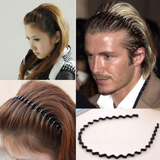 NEW 1PC Mens Women Unisex Black Wavy Hair Accessories Head Hoop Band Sport Headband Hairband Hairpins Styling Tools na471(China (Mainland))