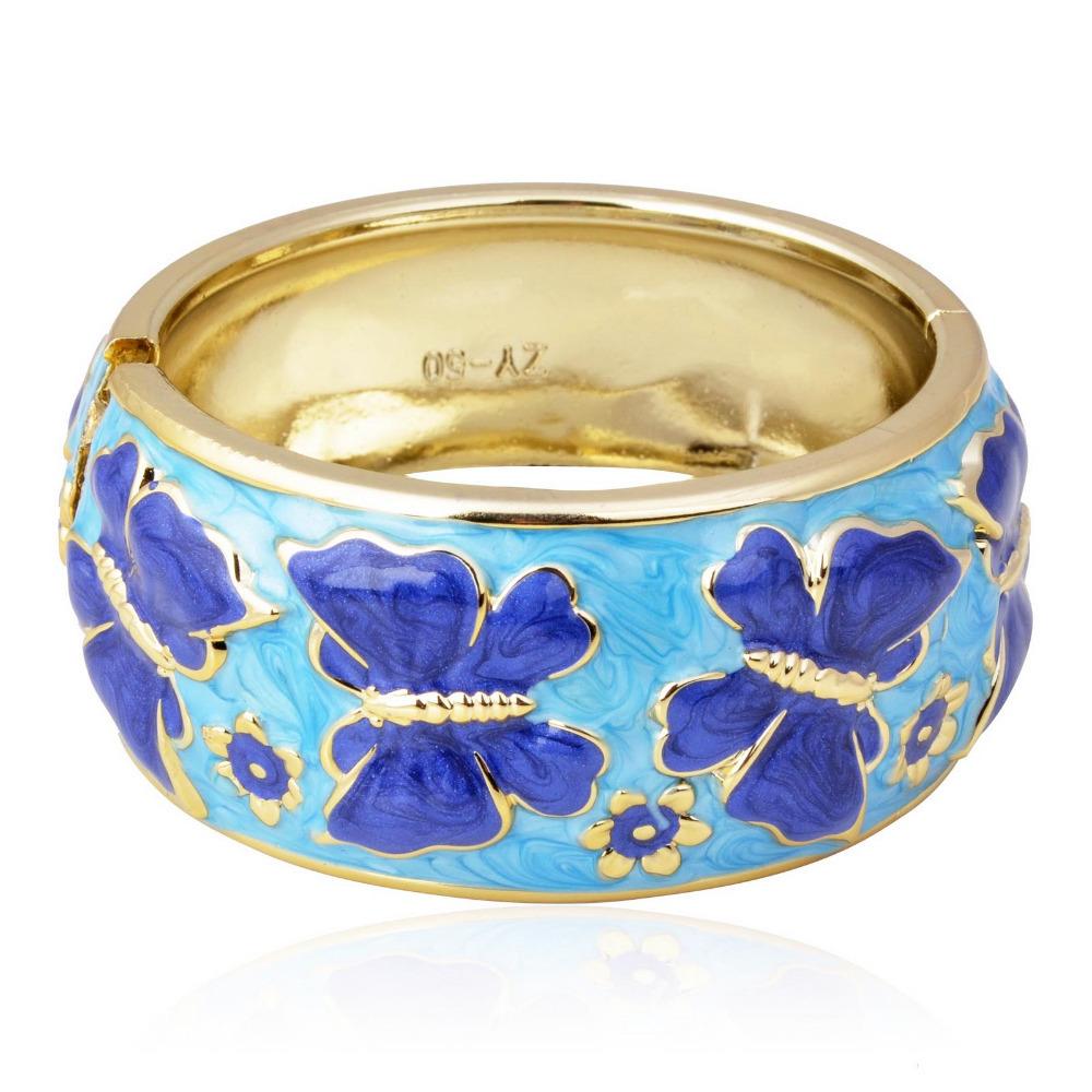 Fashion Butterfly Flower Enamel Open Hinged Friendship Statement Bracelet Bangle(China (Mainland))