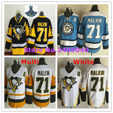 Men's #71 Evgeni Malkin Black Third Light Blue White CCM Vintage Throwback embroidery Hockey Jersey(China (Mainland))