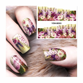WUF 1 Sheet Flower Design Watermark Beauty Nail Art Tips Sticker Full Wraps Water Transfer Stickers Decals For Nails 8053