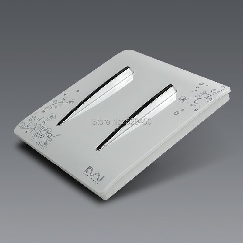 Manufacture Kempinski Brand Luxury Wall Switch 2 Gang 1 Way Ivory White Brief Art Weave Light