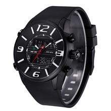 Caliente! 2015 WEIDE WH-3402 hombres de lujo de la PU correa de caucho LCD luz trasera ejército militar Diver Sport reloj – negro + blanco
