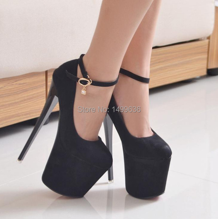 Spring Fashion Women's Super High Heels Shoes (19cm & 22cm) Thin Women Pumps Platform Lady Sexy Flock  -  JOY IN THE HOUSE store