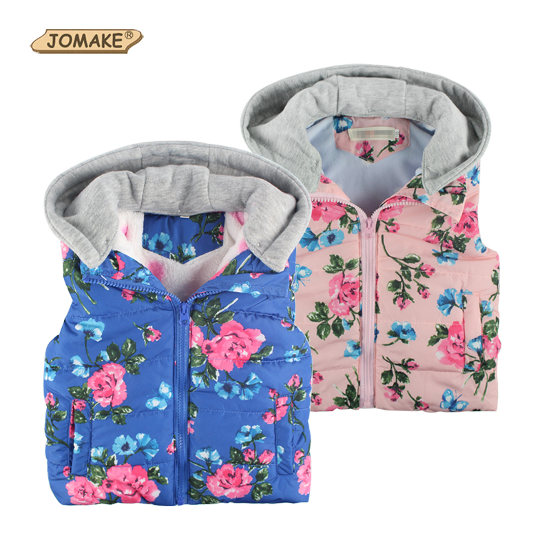 Children Outerwear Baby Girl Fashion Brand Floral Printed Hooded Casual Thick Warm Winter/Autumn Vest Coat Kids Waistcoat - JOMAKE Clothes Store store