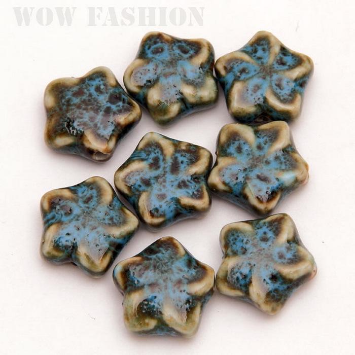 New Design 20pcs/lot 20mm Blue Flower Shape Ceramic Porcelain Beads For DIY CN-CF014-FS008(China (Mainland))