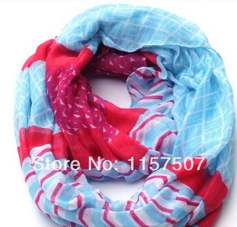 Infinity Scarf / Circle / Loop / Eternity Scarf Huge Chunky Lightweight Stripes Voile Scarf 5 Pieces / a lot(China (Mainland))