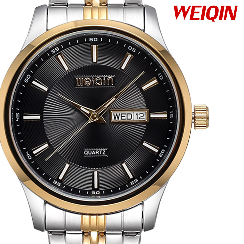 Relogios Luminous Week Date 30m Waterproof Gold Case Stainless Steel Business Watch Men's Quartz Watches Fashion Montre Homme