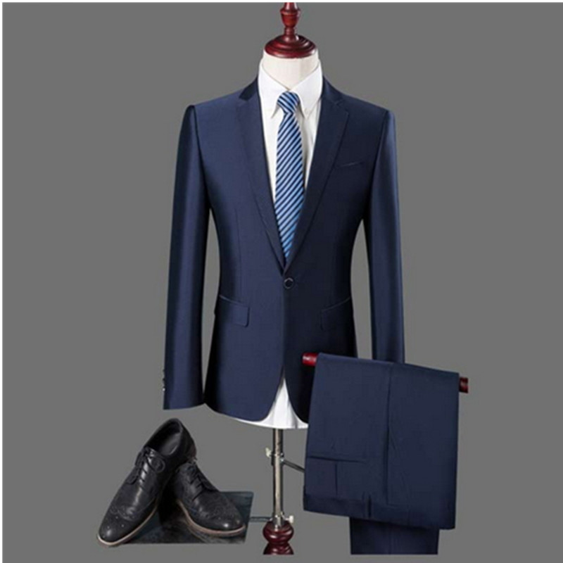 2016 British style men's business fashion casual single button suits /male solid color suit blazers jacket + pants sets(China (Mainland))