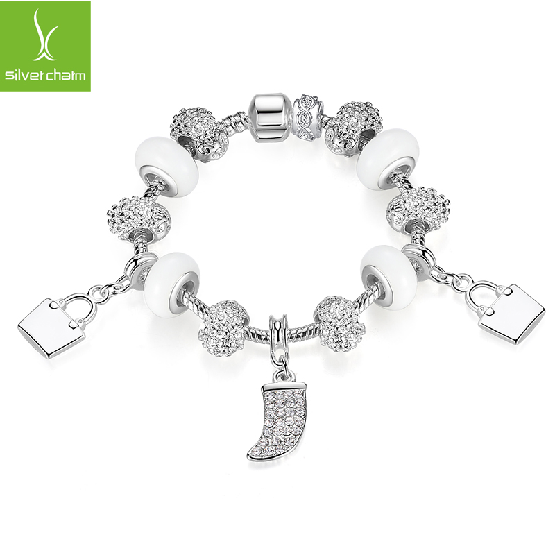 High Quality New Brand 925 Silver Bead Charm Bracelets For Women DIY Sterling Original European Style Jewelry Free Shipping(China (Mainland))