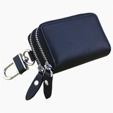 Vachette clé de voiture en cuir portefeuilles hommes Key Holder gouvernante clés organisateur femmes trousseau Double Zipper Key Case sac(China (Mainland))