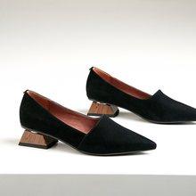 ZVQ vrouwen puntschoen fashion hakken vierkante dikke lage hak dames kid suede bovenste vrouw lente schoenen office dames werken hakken(China)