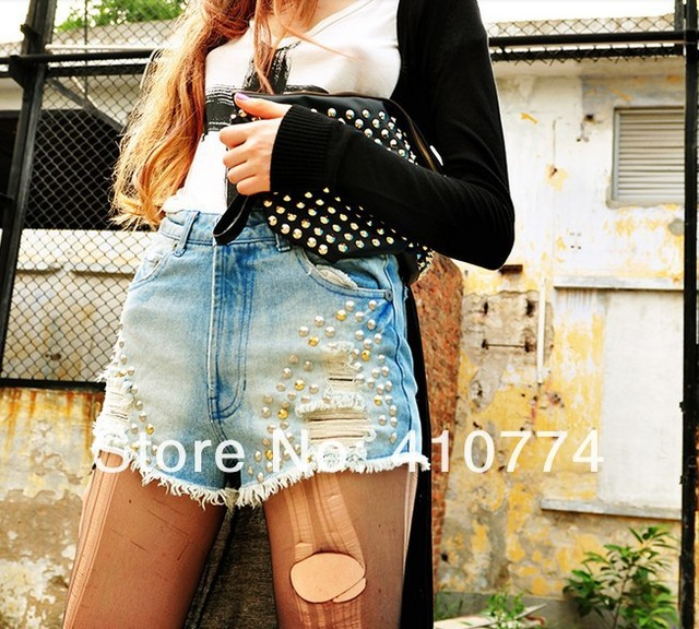 2013  Fashion new  design High Waist Star Studs Rivets Gradient Washed Denim Ripped Shorts Hot Pants