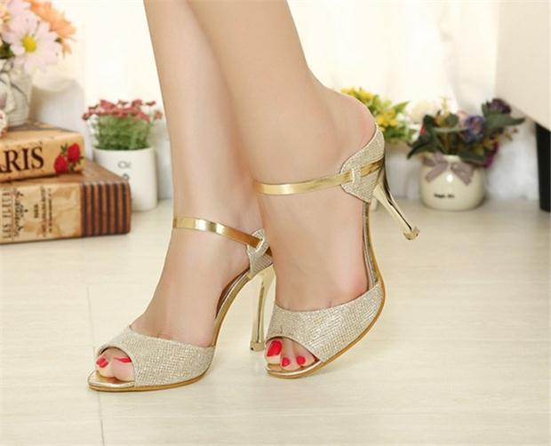 2015 Summer New Stiletto Shoes White Gold Open Toe High Heels Sandals Casual Womens Sexy - Shop1397397 Store store
