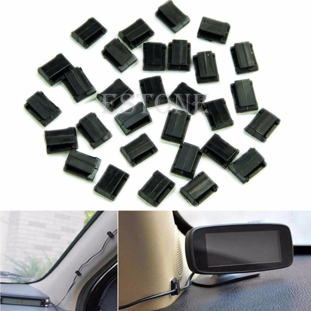 Free Shipping Car Wire Cord Clip Cable Holder Tie Clips Fixer Organizer Drop Adhesive Clamp(China (Mainland))
