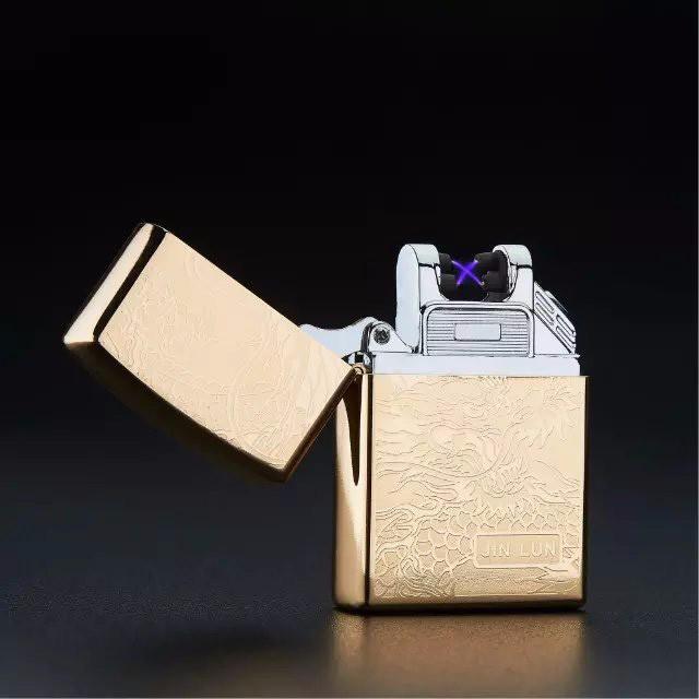 ถูก 10ชิ้นอิเล็กทรอนิกส์บางเฉียบไฟแช็กencendedorบุหรี่ซิการ์เบาUSB Flamelessไฟฟ้าArcเบา
