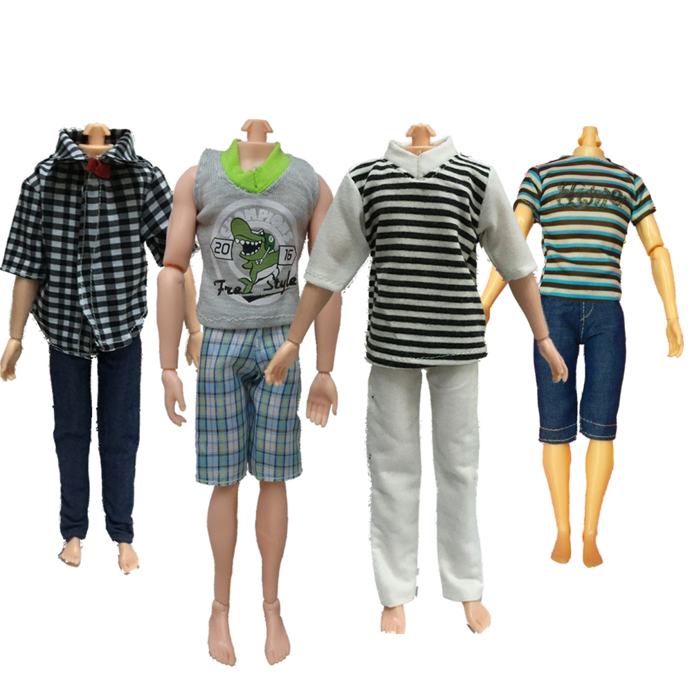 Beautiful 4 Set Casual Suits Clothes Tops Pants For Barbie Boy Friend Ken Dolls(China (Mainland))