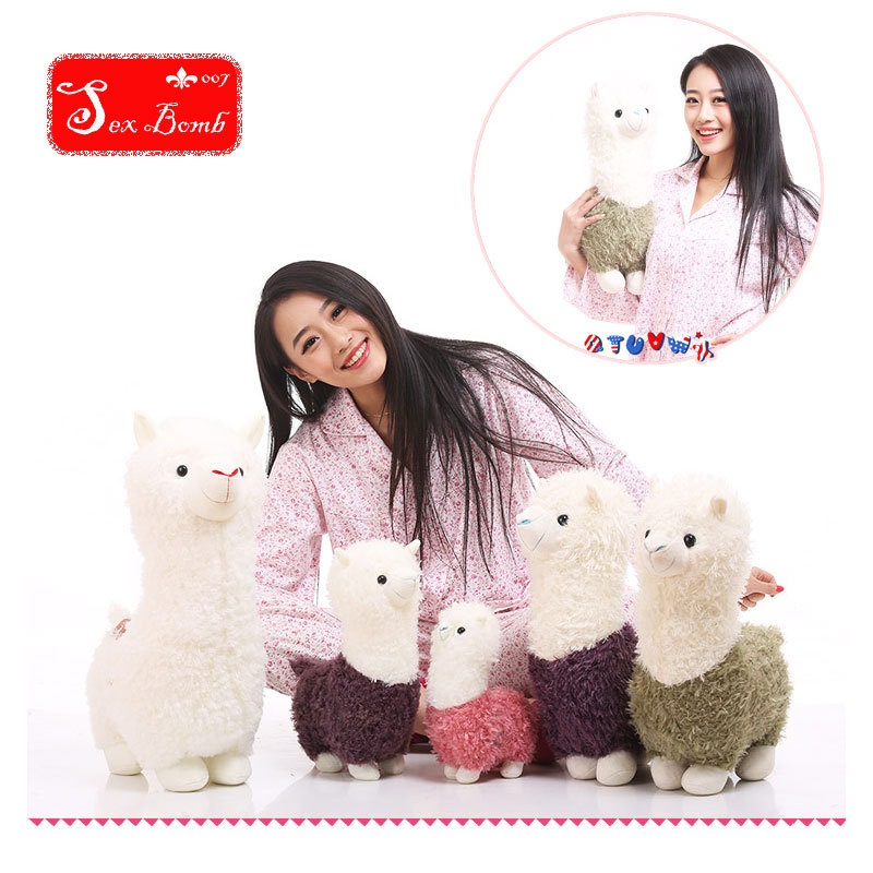 Cute Pillow Doll : 2015 Alpaca Plush doll purple cute Animals dolls hug pillow little house sheep plush soft toy ...