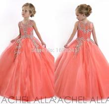 Neue 2015 Little Girls Pageant Kleider Prinzessin Tulle Sheer Jewel Kristall Perlen Weiß bodenlangen Korallen Kinder Blume Mädchen Kleid(China (Mainland))