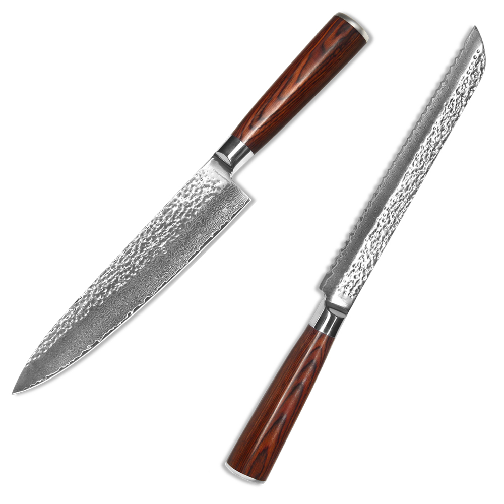 XYJ Brand 67 Layers Damascus Steel Cooking Knife 8 Inch Bread Chef Kitchen Knife VG10 Core Wood Handle Damascus Knife Set