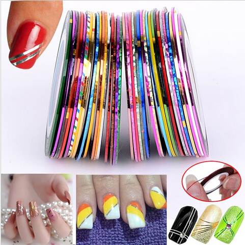 38Pcs Set Mixed Colors Rolls Striping Tape Line Nail Art Templates Decoration Nail Stickers Tools Glitter