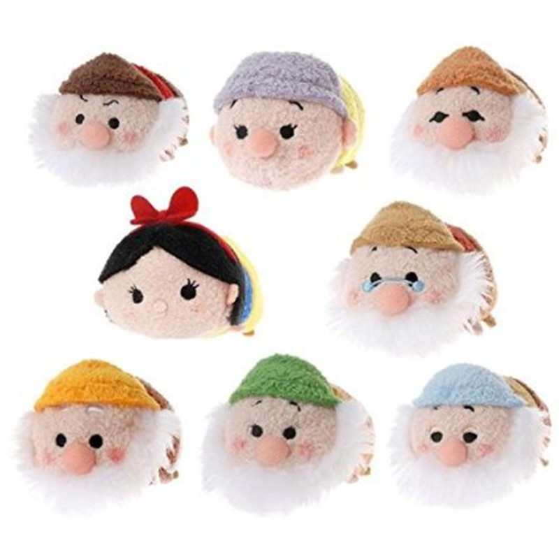 Tsum Tsum snow white and Seven Dwarfs plush mini doll.Plush kawaii Tsum Tsum screen cleaner key chain bag.(China (Mainland))