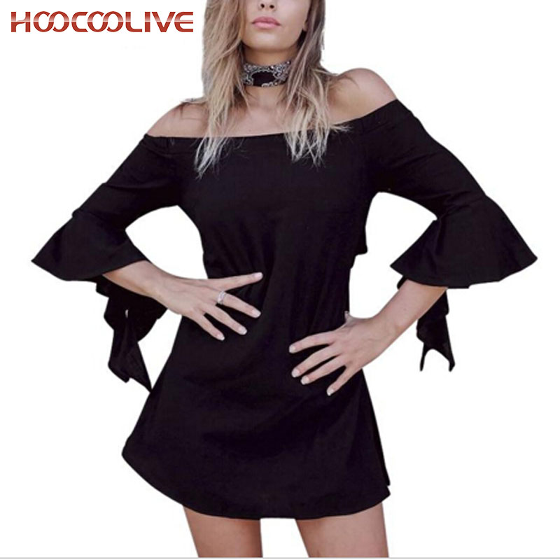 2016 fashion cotton off shoulder white dresses women Sexy hollow out flare sleeve girl dress One piece summer dress C86(China (Mainland))