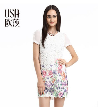 OSA 2014 Summer New Vestidos Women Lace Fashion Print Puff Sleeve Dress Hot Sale O Neck SL480078(China (Mainland))